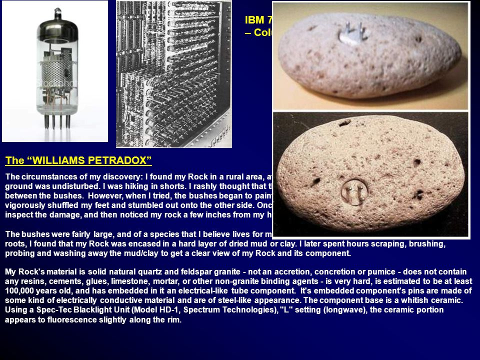 IBM 701 Defense Computer, 1952 – Columbia University The WILLIAMS PETRADOX The circumstances of my discovery: I found my Rock in a rural area, at least 25 feet from the nearest trail.
