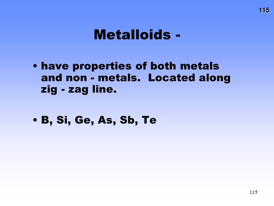115 115 Metalloids - have properties of both metals and non - metals. Located along zig - zag line. B, Si, Ge, As, Sb, Te