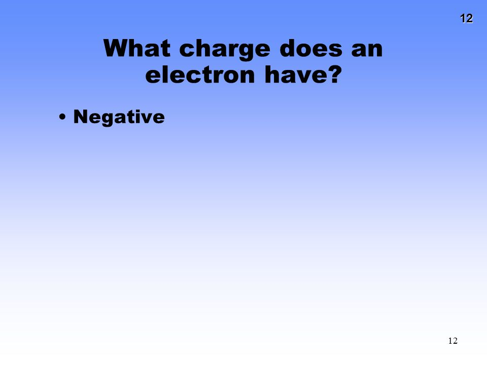 12 12 What charge does an electron have? Negative