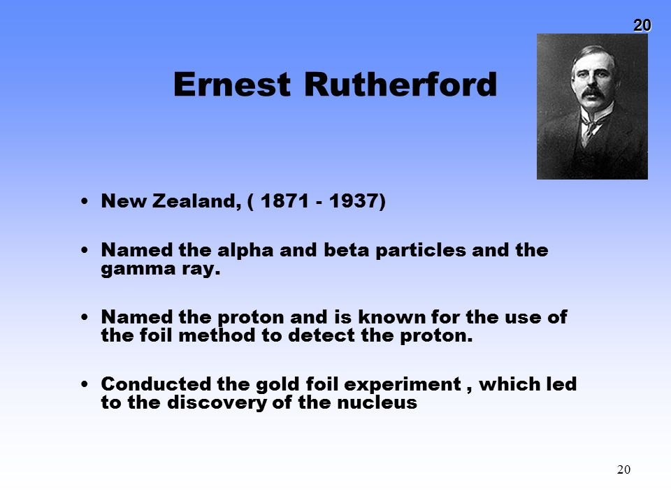 20 20 Ernest Rutherford New Zealand, ( 1871 - 1937) Named the alpha and beta particles and the gamma ray. Named the proton and is known for the use of