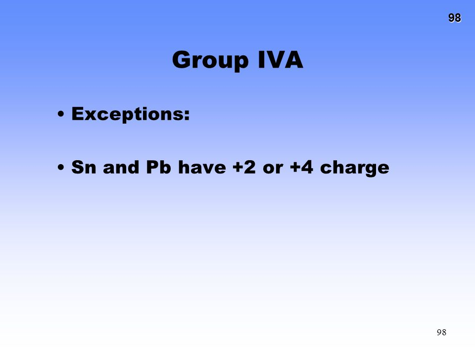 98 98 Group IVA Exceptions: Sn and Pb have +2 or +4 charge