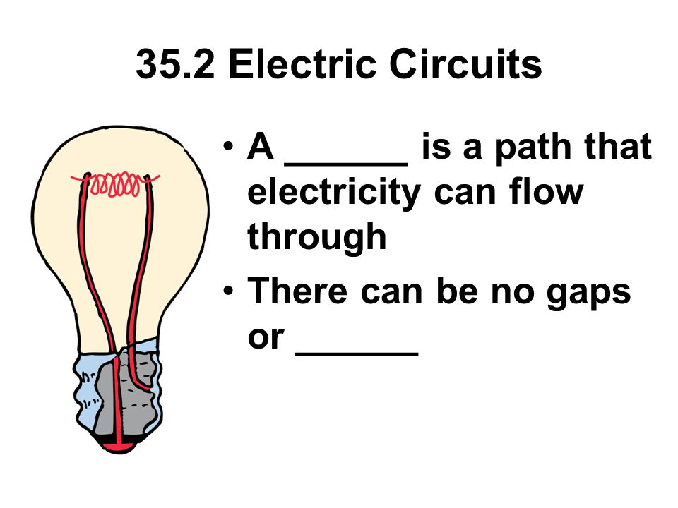 35.2 Electric Circuits A ______ is a path that electricity can flow through There can be no gaps or ______