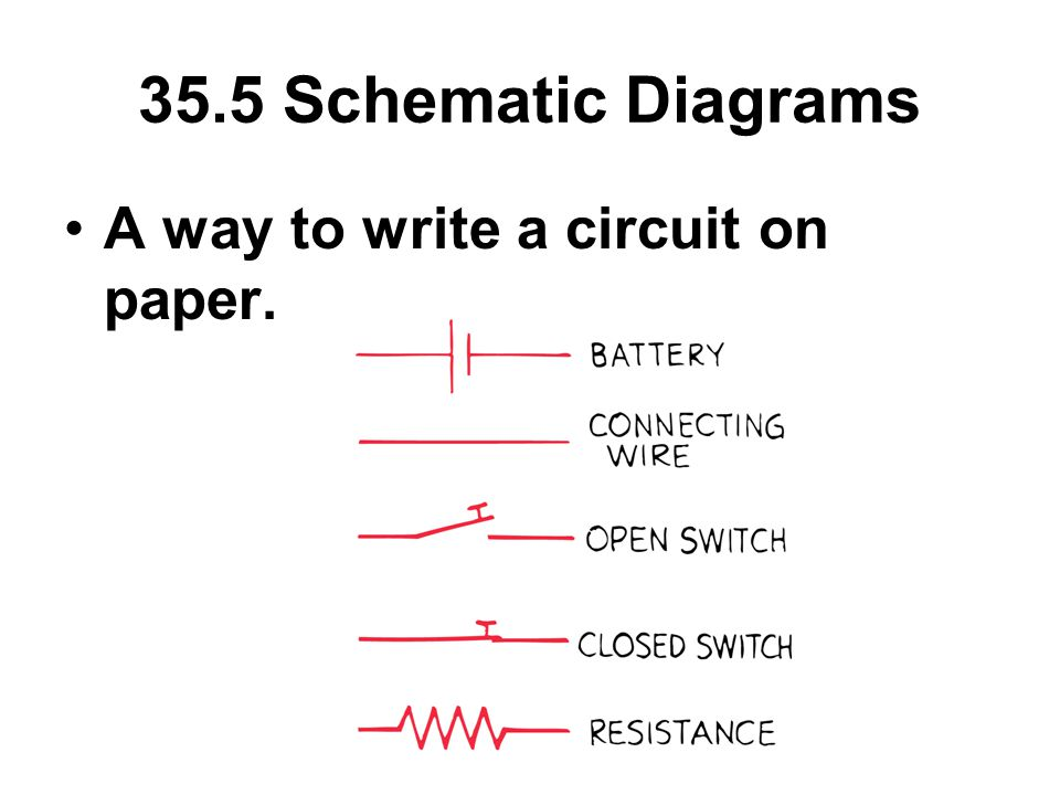 35.5 Schematic Diagrams A way to write a circuit on paper.