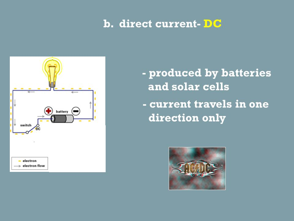 4. Two types of current a. alternating current- AC - current regularly changes direction - can be transmitted over long distances - produced by genera