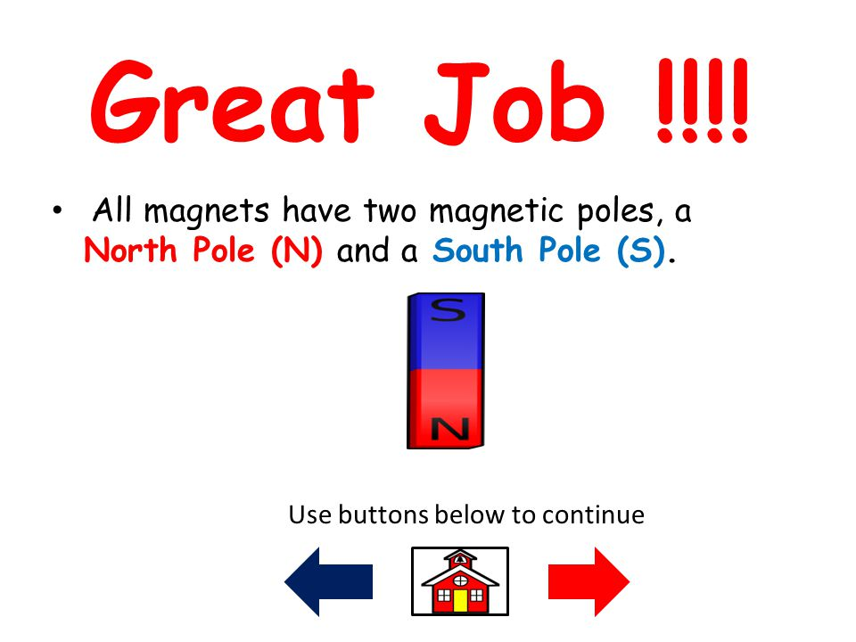 Great Job !!!! All magnets have two magnetic poles, a North Pole (N) and a South Pole (S). Use buttons below to continue