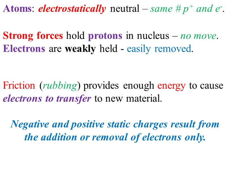 Atoms: electrostatically neutral – same # p + and e -. Strong forces hold protons in nucleus – no move. Electrons are weakly held - easily removed. Fr