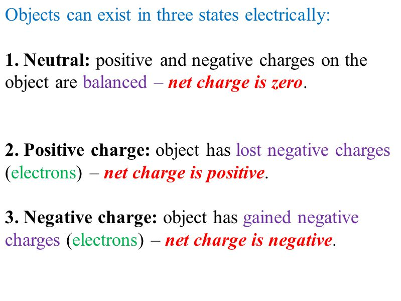 Objects can exist in three states electrically: 1. Neutral: positive and negative charges on the object are balanced – net charge is zero. 2. Positive