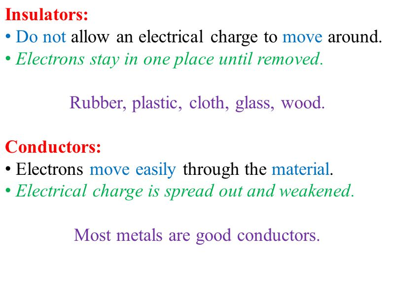 Insulators: Do not allow an electrical charge to move around. Electrons stay in one place until removed. Rubber, plastic, cloth, glass, wood. Conducto