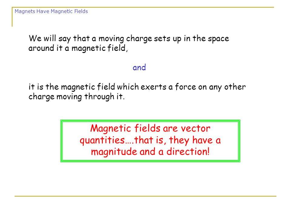  Magnetic Fields are created by moving electric charge.