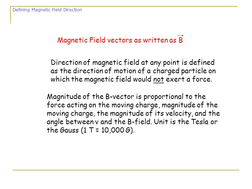We will say that a moving charge sets up in the space around it a magnetic field, and it is the magnetic field which exerts a force on any other charge moving through it.