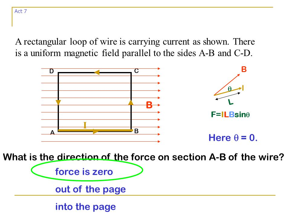 A B C D B I force is zero out of the page into the page A rectangular loop of wire is carrying current as shown.