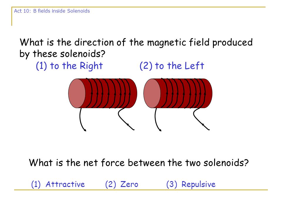 Magnitude of Field anywhere inside of solenoid: B=  0 n I Right-Hand Rule gives Direction: Thumb - along I Fingers – curl into interior of solenoid Palm – gives B n is the number of turns of wire/meter on solenoid.