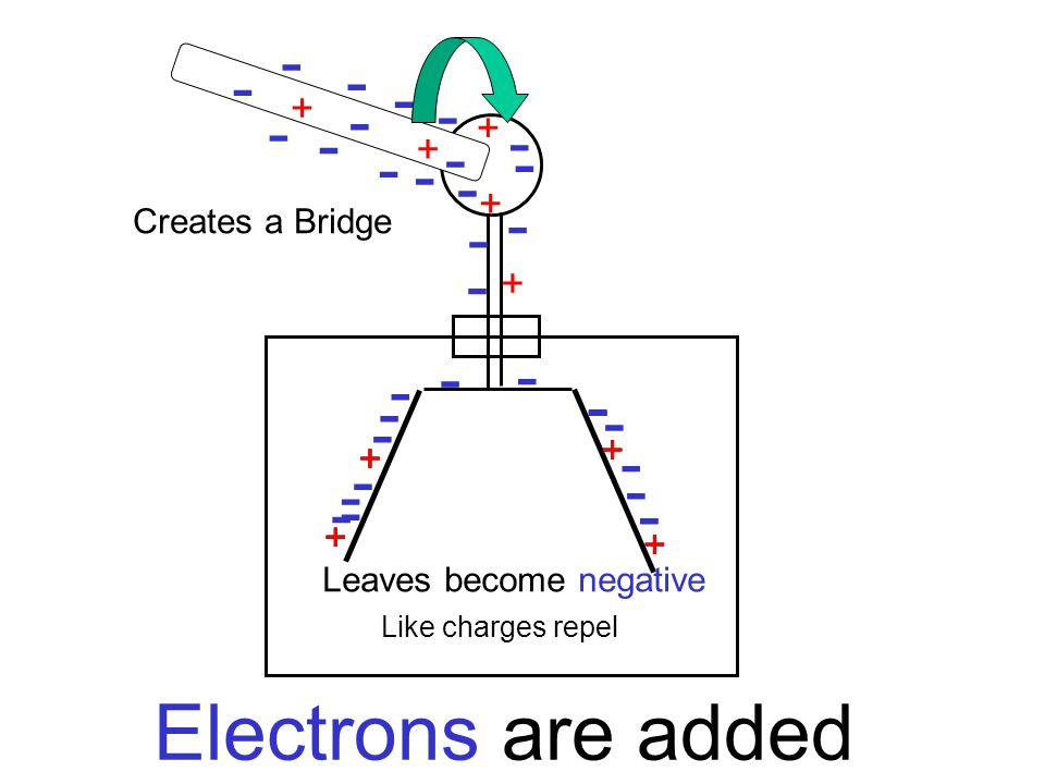 + + + + + + + - - - - - - - + + + - + + + + - - - - - - - - - - - - - - - - - - - Electrons are added Creates a Bridge Like charges repel Leaves becom