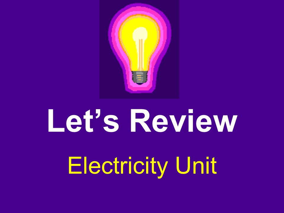 Let's Review Electricity Unit