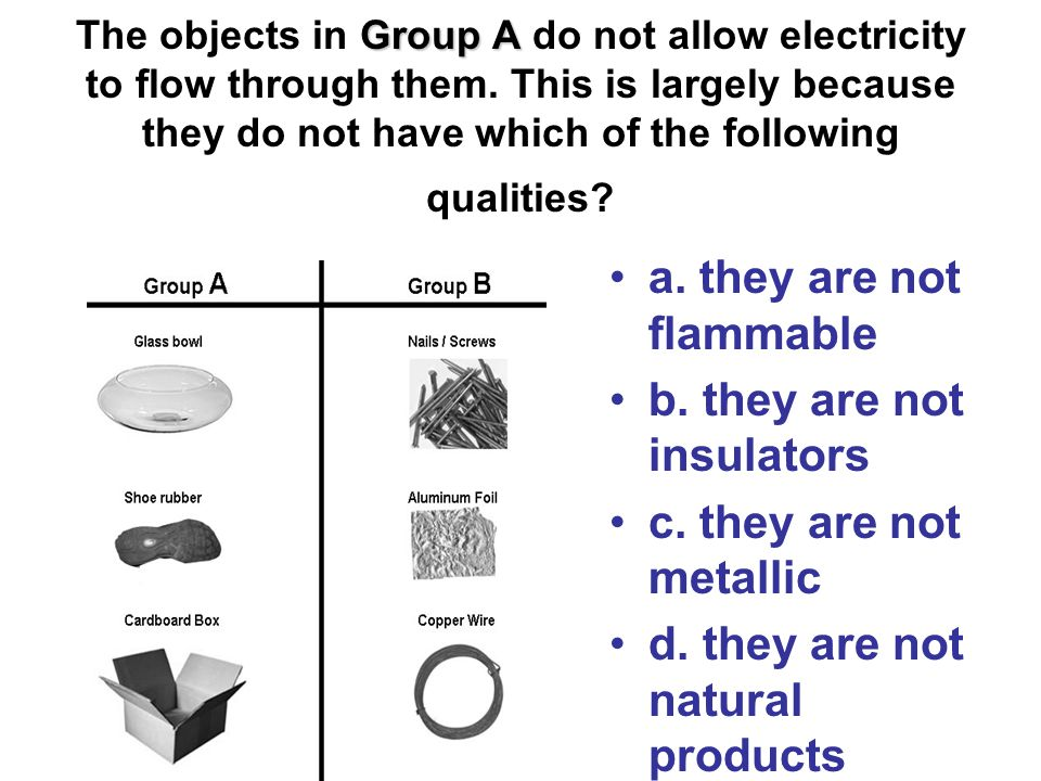 Group A The objects in Group A do not allow electricity to flow through them.