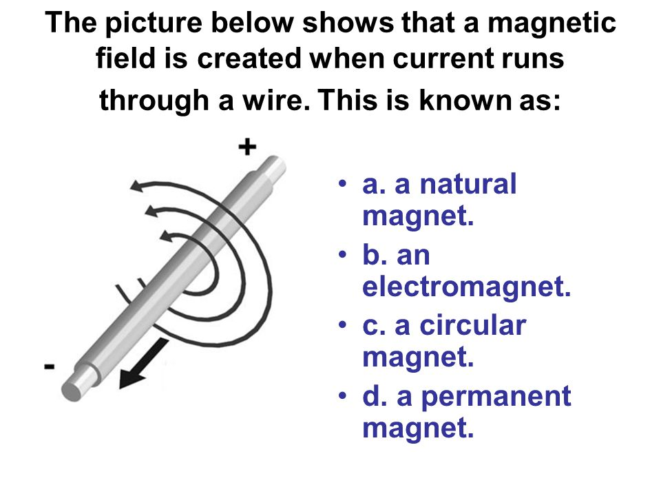 The picture below shows that a magnetic field is created when current runs through a wire. This is known as: a. a natural magnet. b. an electromagnet.