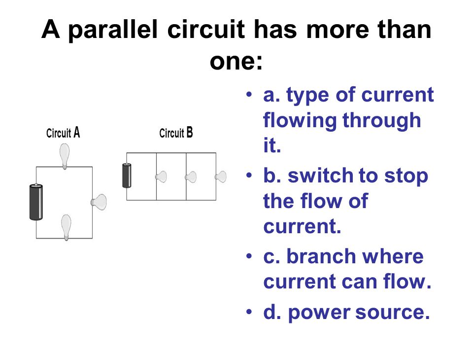 A parallel circuit has more than one: a. type of current flowing through it. b. switch to stop the flow of current. c. branch where current can flow.