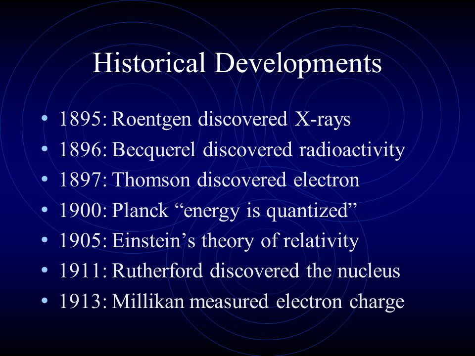 """Historical Developments 1895: Roentgen discovered X-rays 1896: Becquerel discovered radioactivity 1897: Thomson discovered electron 1900: Planck """"ener"""