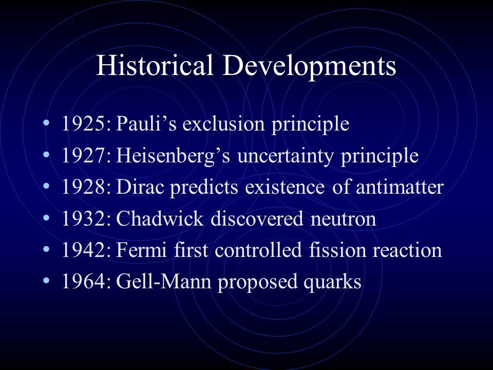 Historical Developments 1925: Pauli's exclusion principle 1927: Heisenberg's uncertainty principle 1928: Dirac predicts existence of antimatter 1932: