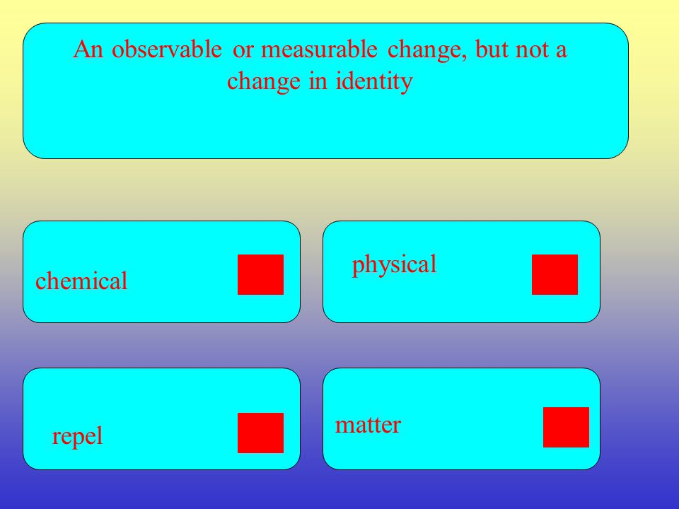 An observable or measurable change, but not a change in identity chemical matter repel physical