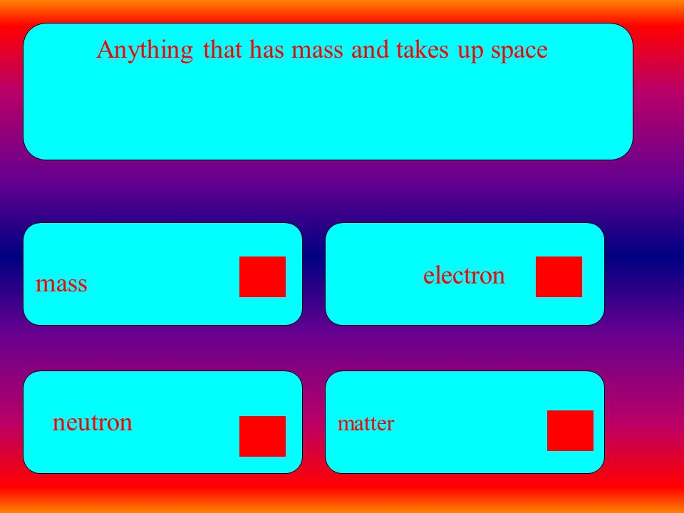 electron Anything that has mass and takes up space mass matter neutron