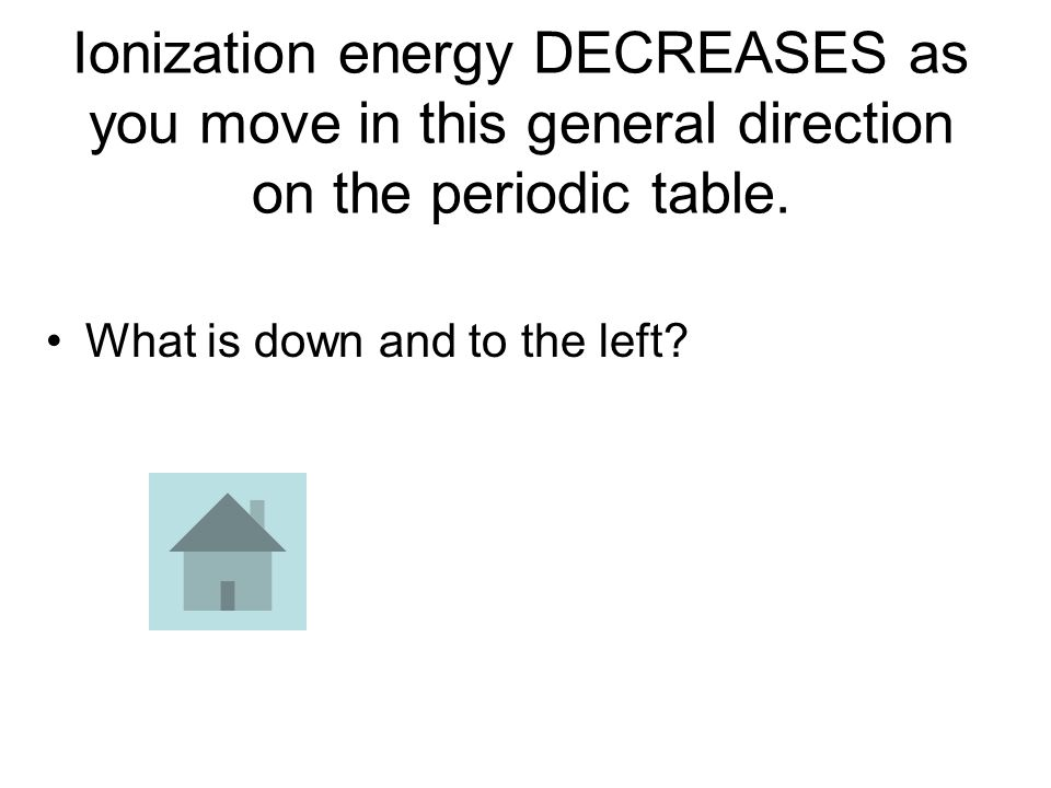 Ionization energy DECREASES as you move in this general direction on the periodic table.