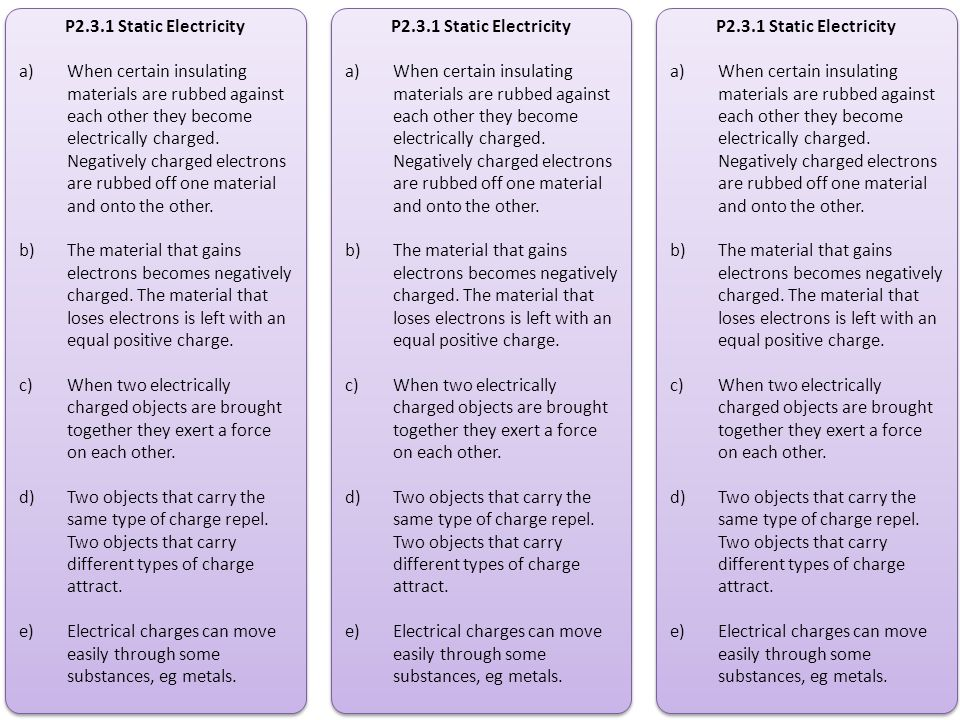 P2.3.1 Static Electricity a)When certain insulating materials are rubbed against each other they become electrically charged. Negatively charged elect