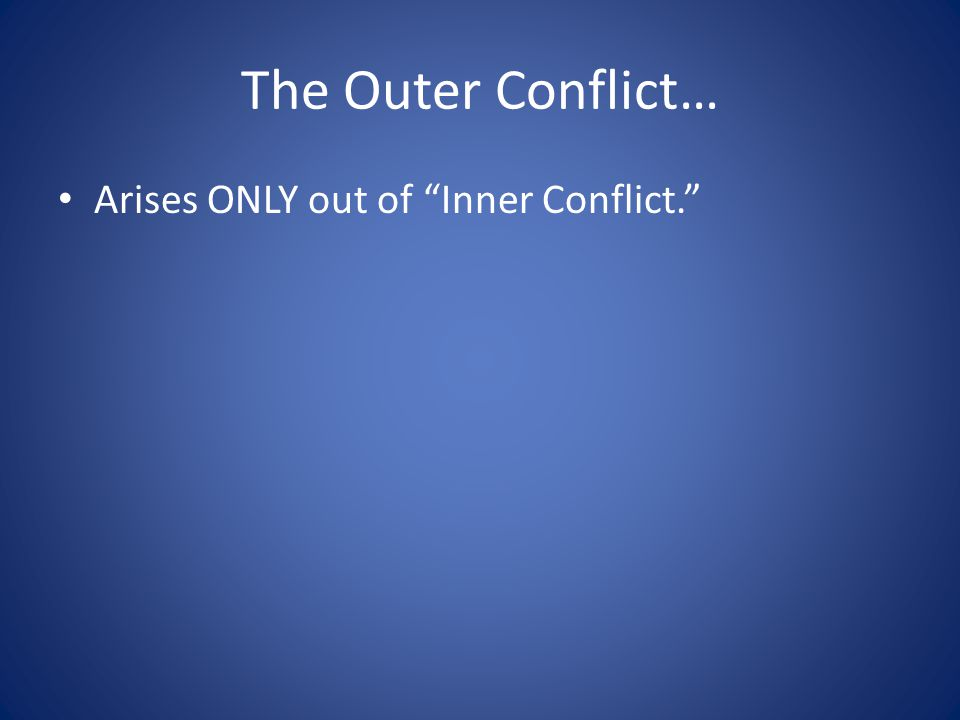 The Outer Conflict… Arises ONLY out of Inner Conflict.