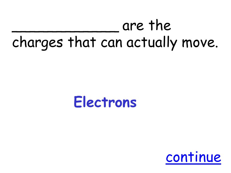 ____________ are the charges that can actually move. Electrons continue