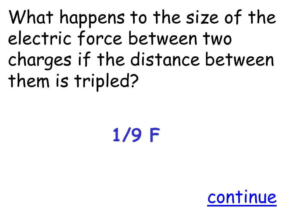 What happens to the size of the electric force between two charges if the distance between them is tripled.