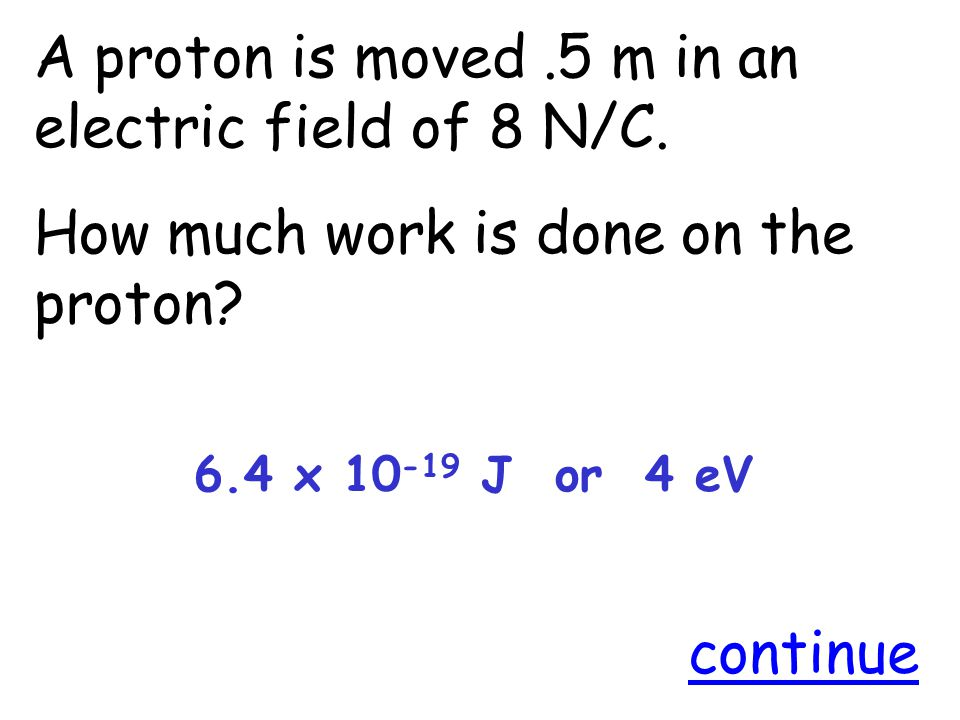 A proton is moved.5 m in an electric field of 8 N/C.