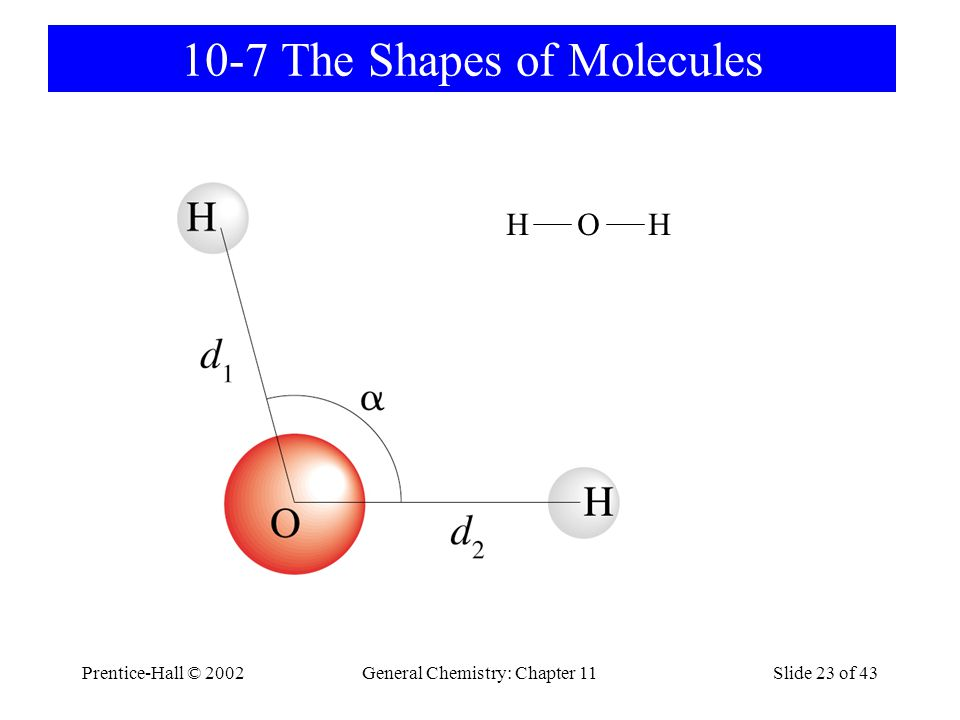 Prentice-Hall © 2002General Chemistry: Chapter 11Slide 23 of 43 10-7 The Shapes of Molecules H O H