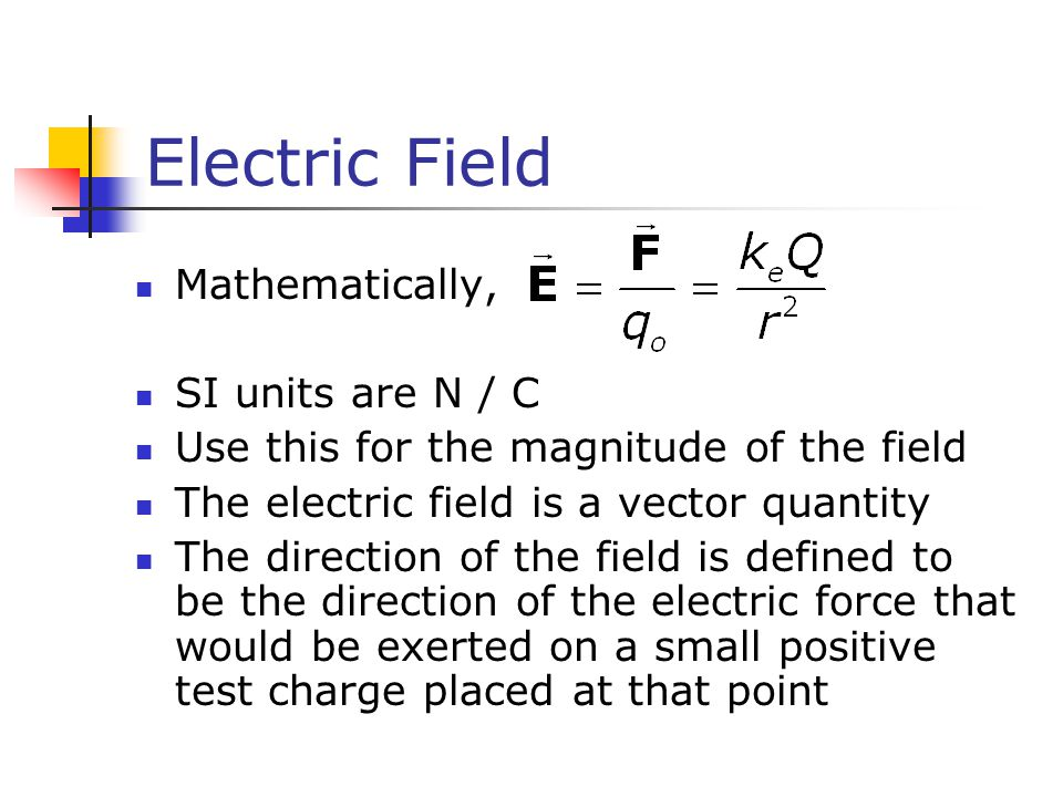 Electric Field Mathematically, SI units are N / C Use this for the magnitude of the field The electric field is a vector quantity The direction of the field is defined to be the direction of the electric force that would be exerted on a small positive test charge placed at that point