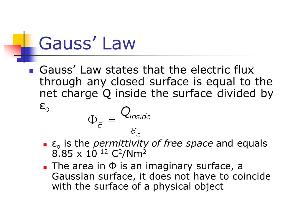 Gauss' Law Gauss' Law states that the electric flux through any closed surface is equal to the net charge Q inside the surface divided by ε o ε o is t