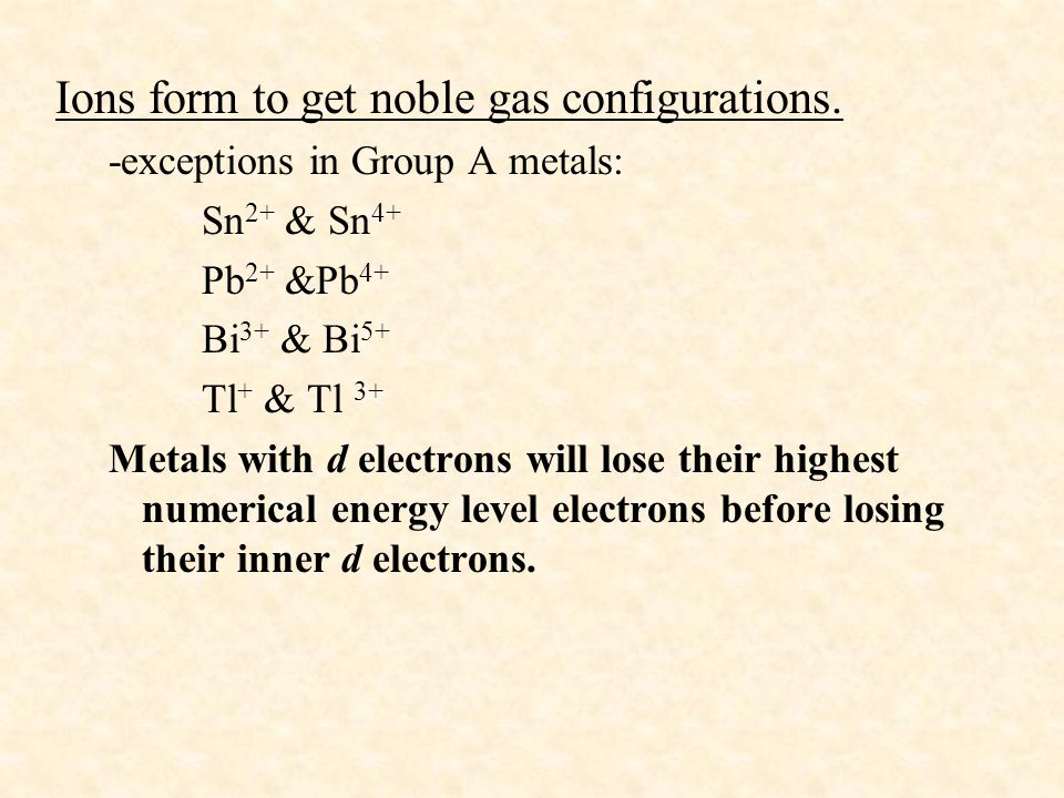 Ions form to get noble gas configurations. -exceptions in Group A metals: Sn 2+ & Sn 4+ Pb 2+ &Pb 4+ Bi 3+ & Bi 5+ Tl + & Tl 3+ Metals with d electron