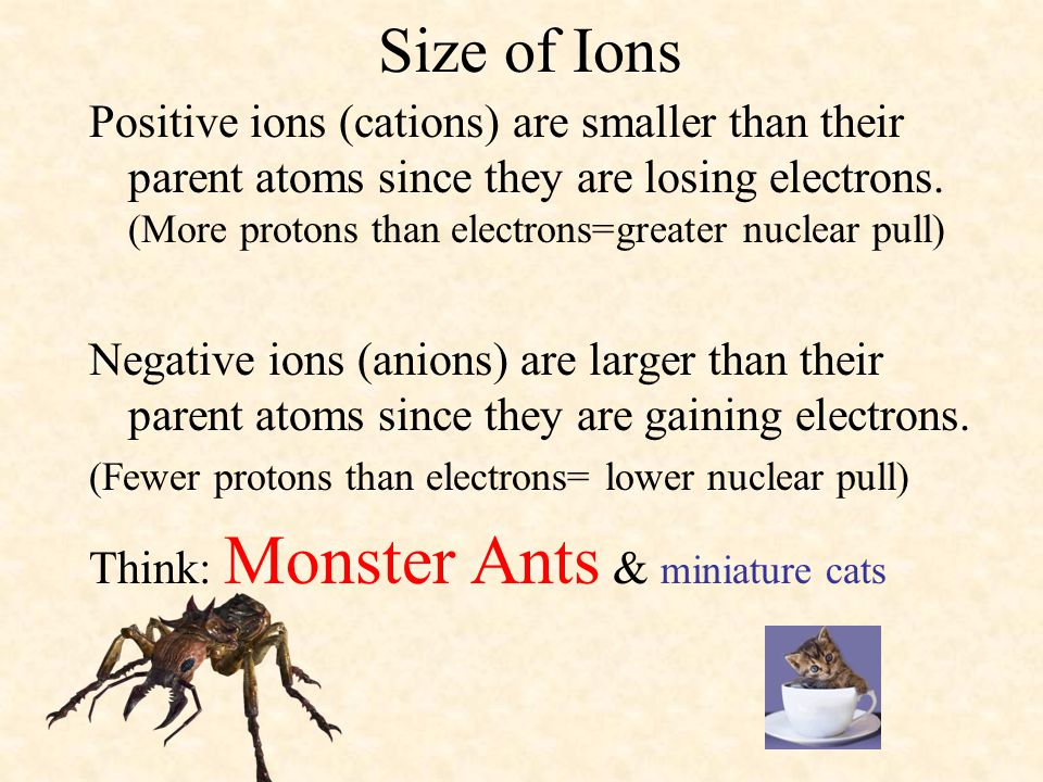Size of Ions Positive ions (cations) are smaller than their parent atoms since they are losing electrons. (More protons than electrons=greater nuclear