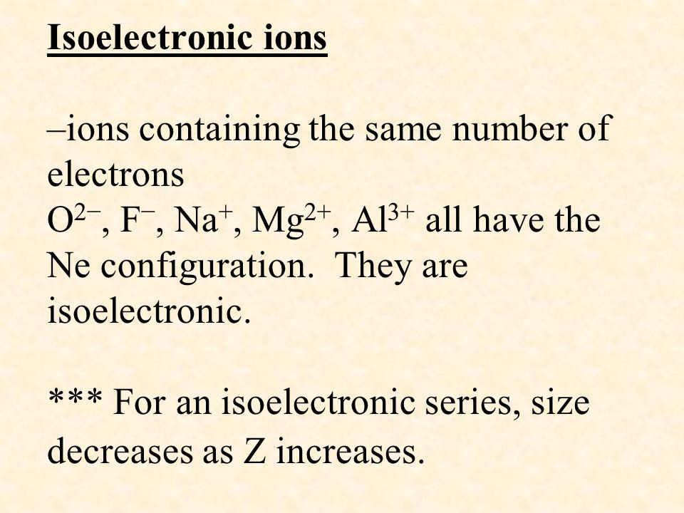 Isoelectronic ions –ions containing the same number of electrons O 2−, F −, Na +, Mg 2+, Al 3+ all have the Ne configuration. They are isoelectronic.