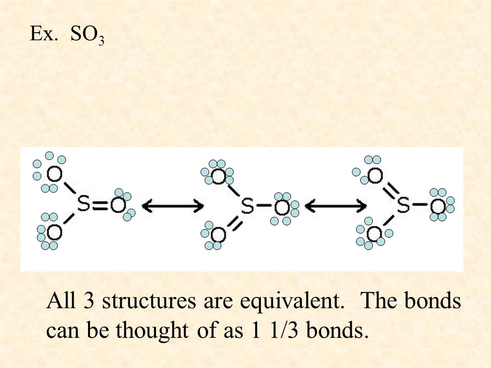 Ex. SO 3 All 3 structures are equivalent. The bonds can be thought of as 1 1/3 bonds.
