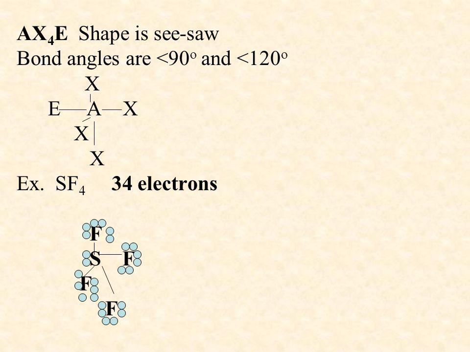 AX 4 E Shape is see-saw Bond angles are <90 o and <120 o X E A X X X Ex.