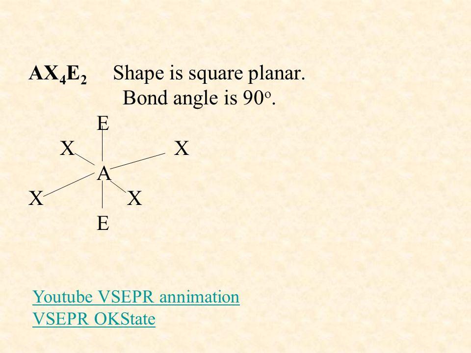 AX 4 E 2 Shape is square planar.Bond angle is 90 o.