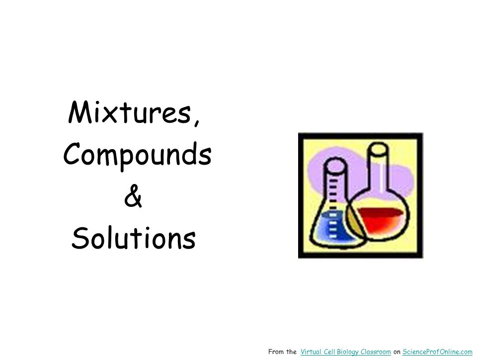 Mixtures, Compounds & Solutions From the Virtual Cell Biology Classroom on ScienceProfOnline.comVirtual Cell Biology ClassroomScienceProfOnline.com