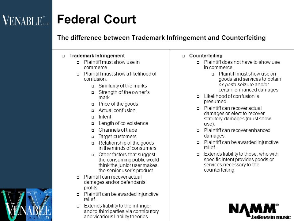 19 Federal Court The difference between Trademark Infringement and Counterfeiting  Trademark Infringement  Plaintiff must show use in commerce.