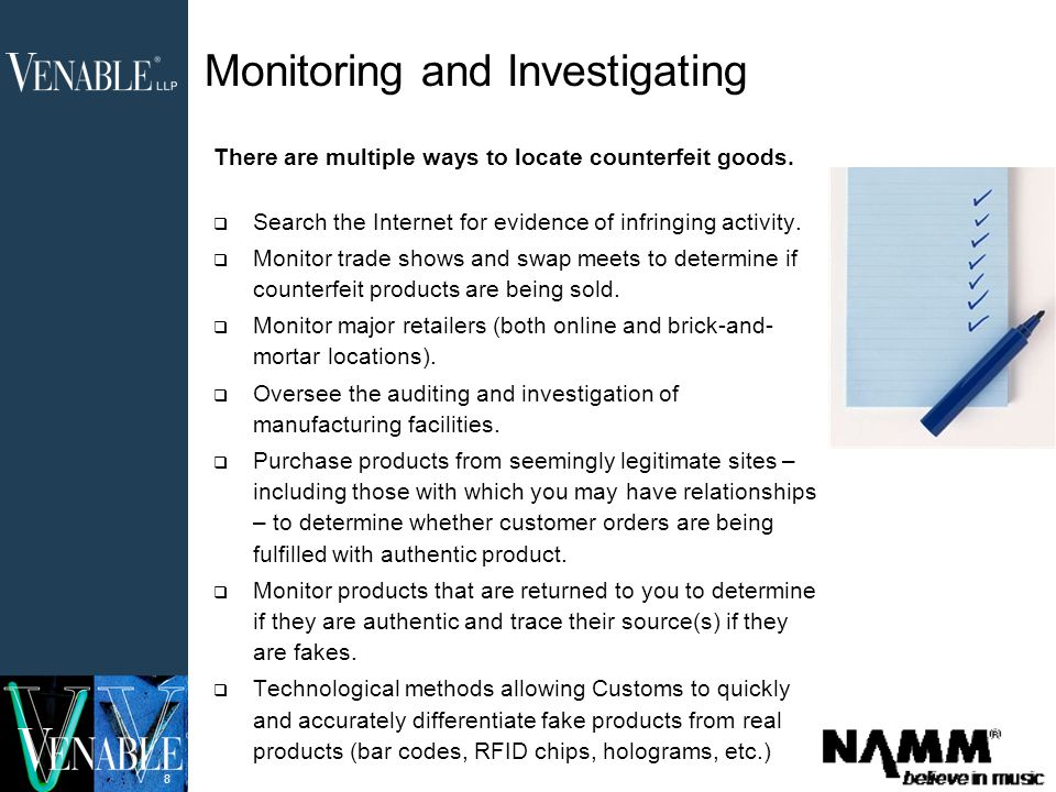 8 There are multiple ways to locate counterfeit goods.