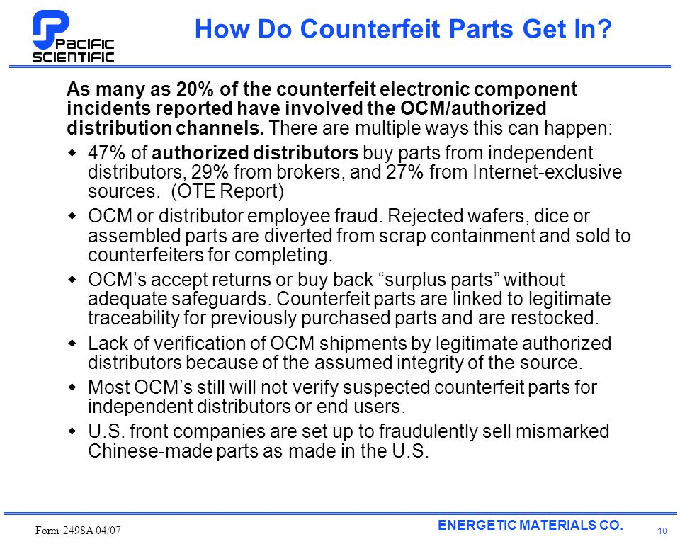ENERGETIC MATERIALS CO. Form 2498A 04/07 10 How Do Counterfeit Parts Get In.