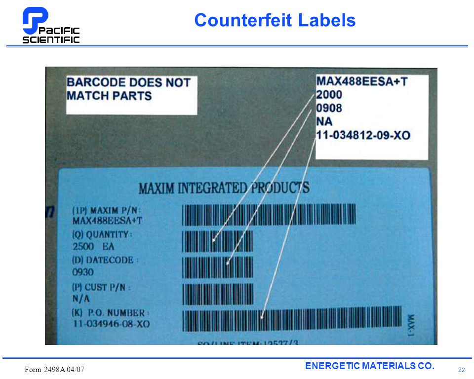ENERGETIC MATERIALS CO. Form 2498A 04/07 22 Counterfeit Labels
