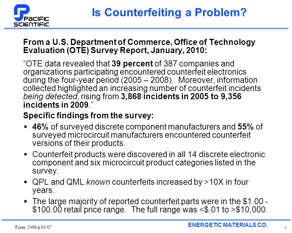 ENERGETIC MATERIALS CO. Form 2498A 04/07 4 Is Counterfeiting a Problem.