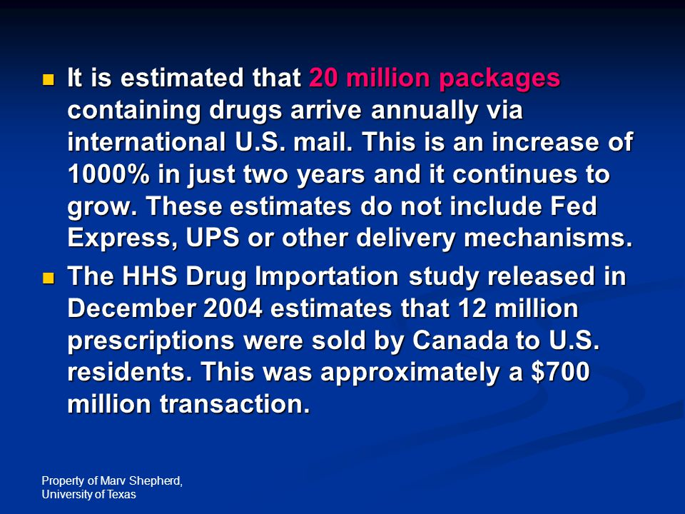 Property of Marv Shepherd, University of Texas It is estimated that 20 million packages containing drugs arrive annually via international U.S.