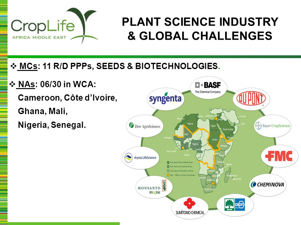  MCs: 11 R/D PPPs, SEEDS & BIOTECHNOLOGIES.  NAs: 06/30 in WCA: Cameroon, Côte d'Ivoire, Ghana, Mali, Nigeria, Senegal. PLANT SCIENCE INDUSTRY & GLO