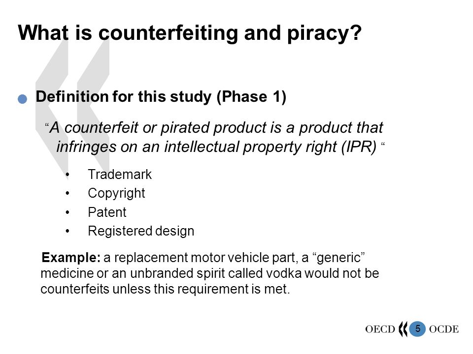 5 Definition for this study (Phase 1) A counterfeit or pirated product is a product that infringes on an intellectual property right (IPR) Trademark Copyright Patent Registered design Example: a replacement motor vehicle part, a generic medicine or an unbranded spirit called vodka would not be counterfeits unless this requirement is met.