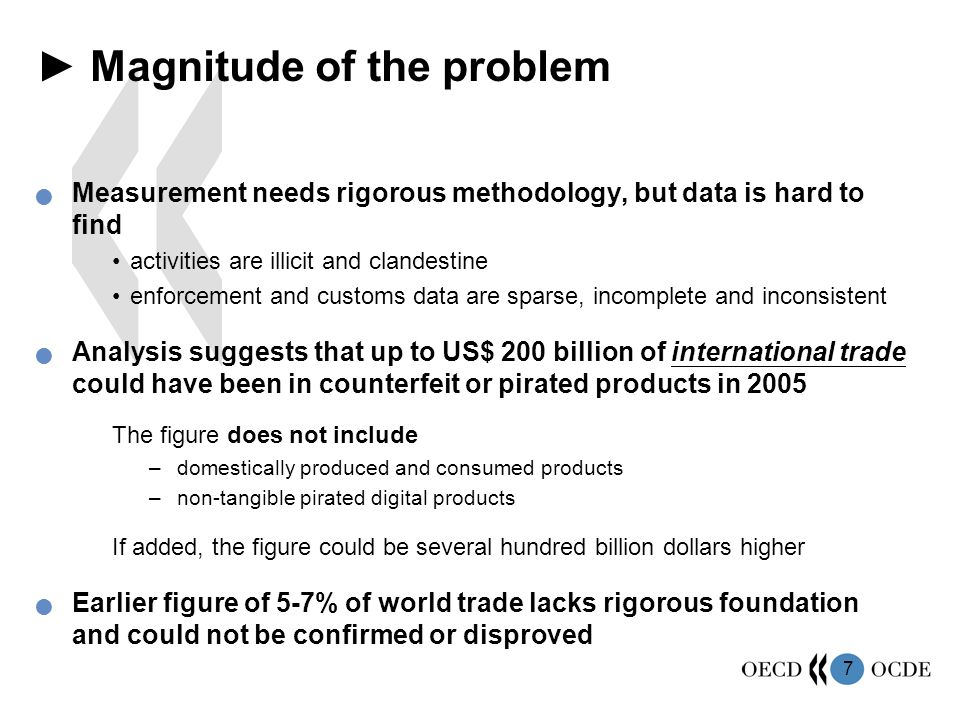 7 ► Magnitude of the problem Measurement needs rigorous methodology, but data is hard to find activities are illicit and clandestine enforcement and customs data are sparse, incomplete and inconsistent Analysis suggests that up to US$ 200 billion of international trade could have been in counterfeit or pirated products in 2005 The figure does not include –domestically produced and consumed products –non-tangible pirated digital products If added, the figure could be several hundred billion dollars higher Earlier figure of 5-7% of world trade lacks rigorous foundation and could not be confirmed or disproved